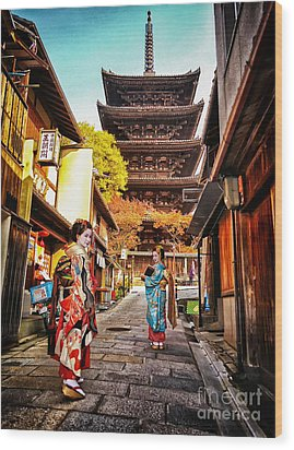 Geisha Temple Wood Print by John Swartz