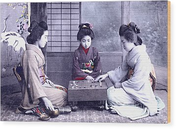 Wood Print featuring the photograph Geisha's Playing Game by Unknown