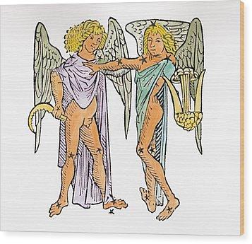 Gemini An Illustration Wood Print by Italian School