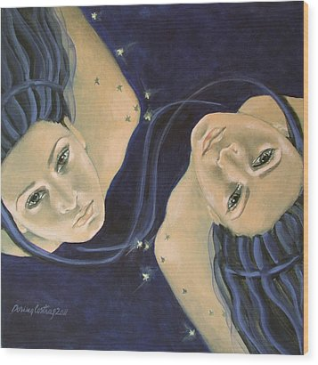 Gemini From Zodiac Series Wood Print by Dorina  Costras