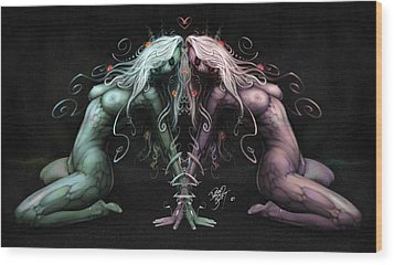 Gemini Heart Wood Print by David Bollt
