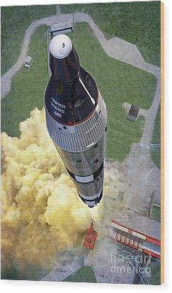 Gemini Titan Launch Wood Print by Stu Shepherd