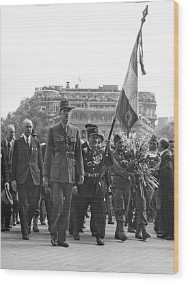 General Charles De Gaulle Wood Print by Underwood Archives