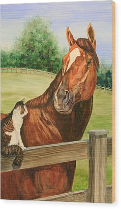 General Charlie And Whirlaway The Cat Portrait Wood Print by Kristine Plum