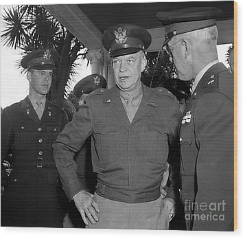 Wood Print featuring the photograph General  Eisenhower 1946 by Martin Konopacki Restoration