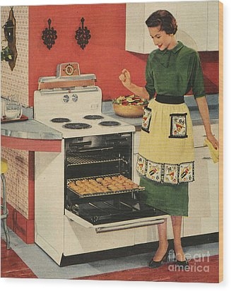 General Electric 1950s Usa  Ovens Wood Print by The Advertising Archives