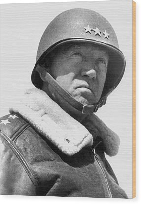 General George Patton Wood Print by War Is Hell Store