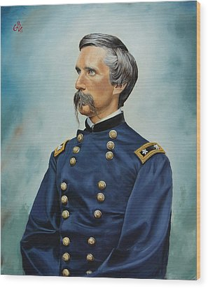 Wood Print featuring the painting General Joshua Chamberlain by Glenn Beasley