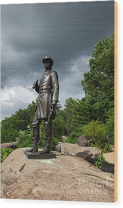 General K Warren Monument Gettysburg Wood Print by James Brunker