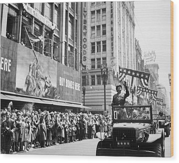 General Patton Ticker Tape Parade Wood Print by War Is Hell Store