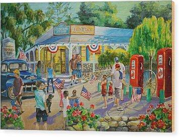 General Store After July 4th Parade Wood Print by Jan Mecklenburg