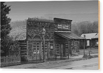 General Store Virginia City Montana Wood Print by Thomas Woolworth
