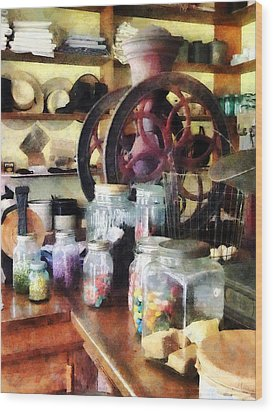 General Store With Candy Jars Wood Print by Susan Savad