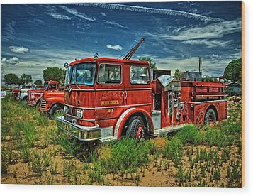 Wood Print featuring the photograph Generations Of Fire Fighting Equipment by Ken Smith