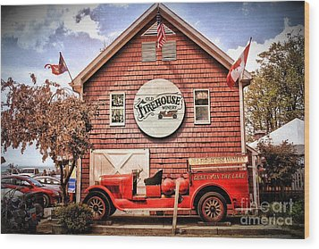 Geneva On The Lake Firehouse Wood Print by The Art of Alice Terrill