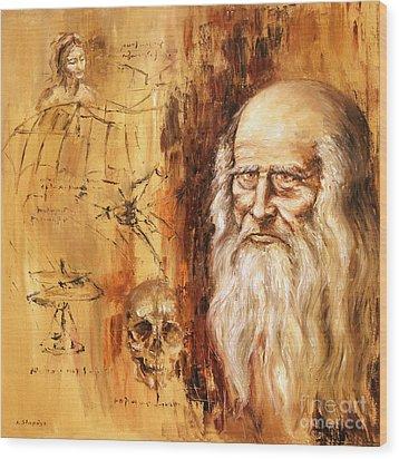 Wood Print featuring the painting Genius   Leonardo Da Vinci by Arturas Slapsys