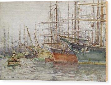 Genoa Harbour, 1904 Wood Print by Henry Scott Tuke