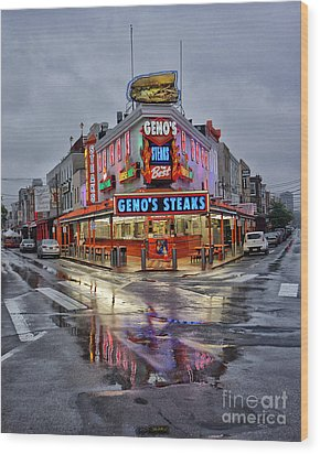 Geno's 7 Wood Print by Jack Paolini