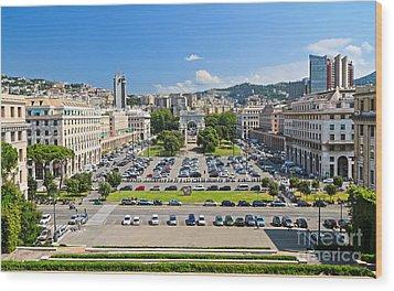 Genova - Piazza Della Vittoria Overview Wood Print