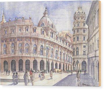 Genova Piazza De Ferrari Wood Print by Luca Massone