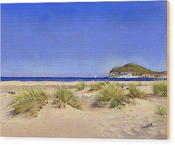 Genoveses Beach Wood Print by Margaret Merry