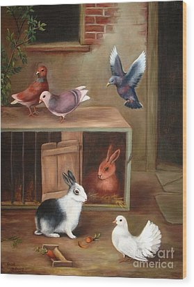 Wood Print featuring the painting Gentle Creatures by Hazel Holland