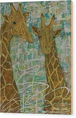 Wood Print featuring the painting Gentle Giants by Jane Chesnut