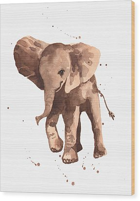Gentle Graham Elephant Wood Print by Alison Fennell