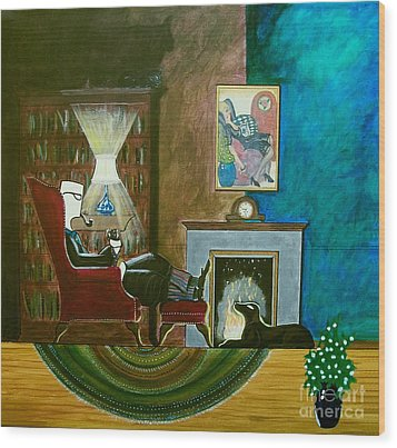 Gentleman Sitting In Wingback Chair Enjoying A Brandy Wood Print by John Lyes
