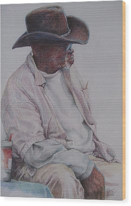 Gentleman Wearing The Dark Hat Wood Print
