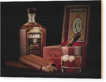 Gentlemen's Club Still Life Wood Print