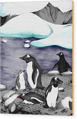 Gentoo Penguins Wood Print