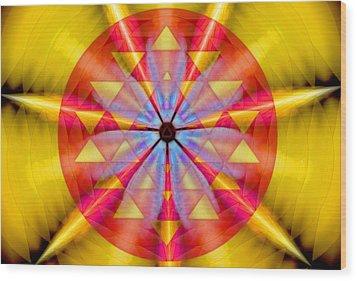 Geo-cosmic Sri Yantra Wood Print by Derek Gedney