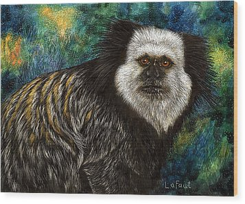 Wood Print featuring the drawing Geoffrey's Marmoset by Sandra LaFaut