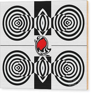 Geometric Art Black White Red Abstract No.382. Wood Print by Drinka Mercep