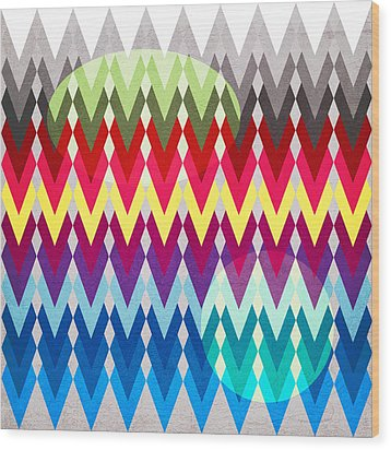 Geometric Colors  Wood Print by Mark Ashkenazi