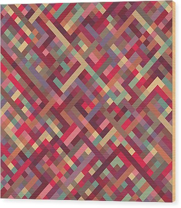 Geometric Lines Wood Print by Mike Taylor