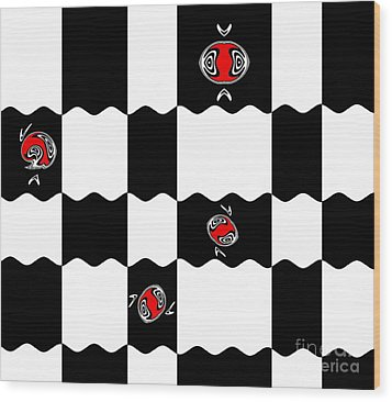 Geometric Minimalistic Art Black White Red Abstract Print No.228. Wood Print by Drinka Mercep