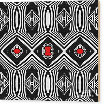 Pattern Black White Red Op Art No.389. Wood Print by Drinka Mercep