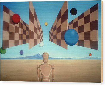 Geometric Witness Wood Print by Michael Bridges