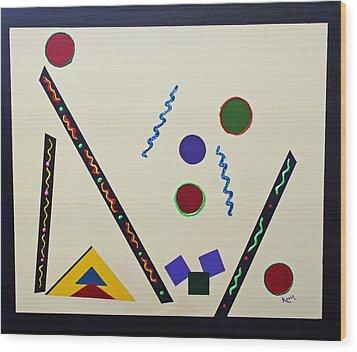 Geometrical Play Wood Print by Karin Eisermann