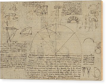Geometrical Study About Transformation From Rectilinear To Curved Surfaces And Vice Versa From Atlan Wood Print by Leonardo Da Vinci