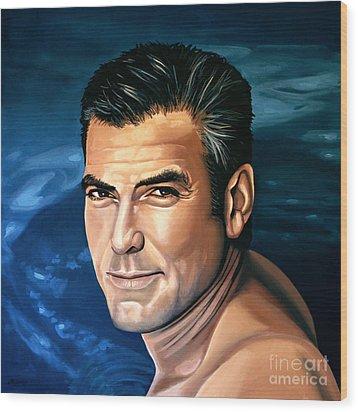 George Clooney 2 Wood Print by Paul Meijering