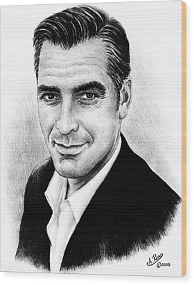 George Clooney Wood Print by Andrew Read