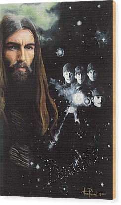 George Harrison And The Beatles Wood Print by Anne Provost