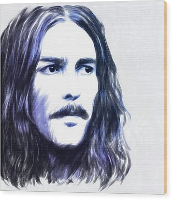 George Harrison Portrait Wood Print by Wu Wei