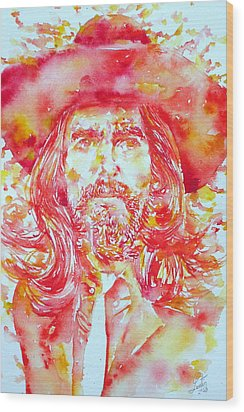 George Harrison With Hat Wood Print by Fabrizio Cassetta