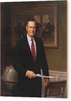 George Hw Bush Presidential Portrait Wood Print by War Is Hell Store