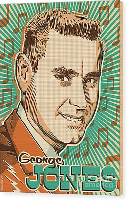 George Jones Pop Art Wood Print