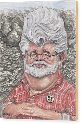 George Lucas Wood Print by Mark Tavares